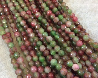 "6mm Faceted Dyed Pink/Green Agate Round/Ball Shaped Beads - 15.5"" Strand (Approximately 65 Beads) - Natural Semi-Precious Gemstone"