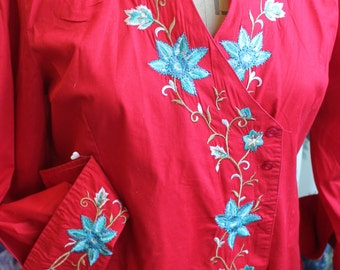 Beautiful red embroidered blouse REF 203