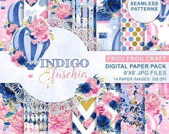 Watercolor Hot Air Balloons Digital Paper Pack Flowers Navy Blue Indigo Hot Pink Fuschia Seamless Patterns Gold Repeatable Instant Download