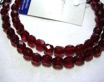 8mm Garnet Beads Faceted Czech Glass Rounds Preciosa Crystals 16 Inch Strand Beautiful Uniform Traditional Czech Glass Beads 8mm Faceted Red