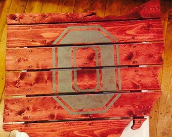 "Wood ""Ohio"" - Ohio State Buckeyes Wall Art"