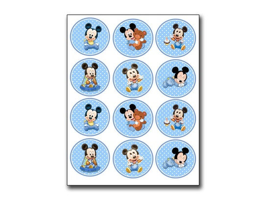 Baby Mickey Mouse Light Blue Toppers Matching Birthday