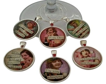 Vintage Women Funny Wine Glass Charms Silver Case Wine Tags - Set of 6 Wine Charms - Perfect Hostess, Housewarming Gift - Entertaining Idea