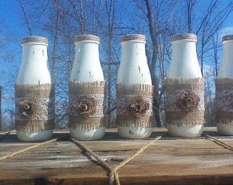 Six Shabby chic/Rustic Vase, Centerpiece