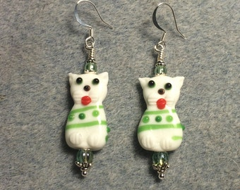 White, green and orange lampwork cat bead earrings adorned with green Czech glass beads.