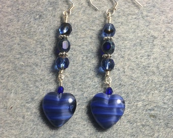 Opaque blue Czech glass heart bead dangle earrings adorned with blue Czech glass beads.
