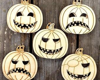 10 x Wooden Halloween Pumpkin Face Mix Craft Shapes
