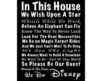 In This House We Do Disney - We Wish Upon A Star - Ready To Hang Canvas Wrap or Luster Paper