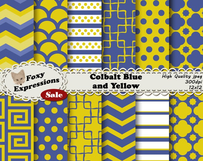 Calbalt Blue and Yellow pack in fun chevron, polka dots, stripes, lattice damask, and reverse chains for personal and commercial use