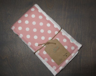 Pink and White Polka Dot CLOTH DIAPER Burp RAG