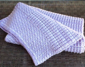 Knit baby blanket pink and lilac colors handmade