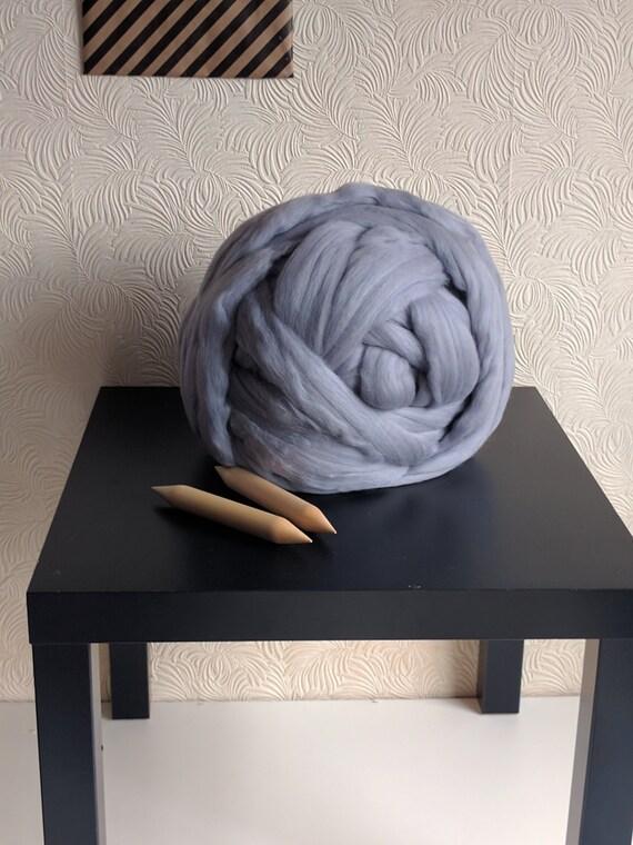 Giant Knitting Needles For Sale Uk : G pure merino wool ash grey giant knitting yarn arm