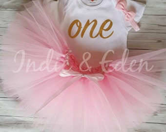 First Birthday tutu one 1st birthday girls pink personalised gold silver one bow headband set photo prop cake smash
