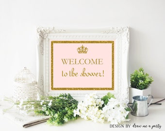 Princess Welcome Baby Shower Sign , Pink And Gold Sign , Printable , Instant Download