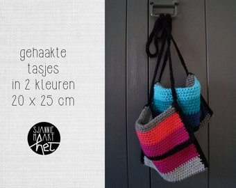 Crochet bag in pink or blue