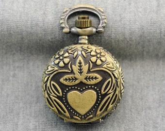Loving heart Pocket Watch -Flower Pocket Watch -Watch Locket Necklace -Sweater Necklace 28mm