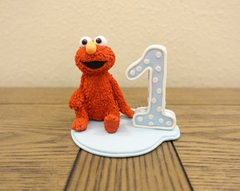 Cute Elmo from Sesame Street Cake Topper with #1 (can be personalized)
