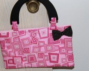 Groovy Pink Geometric Handbag (Small)