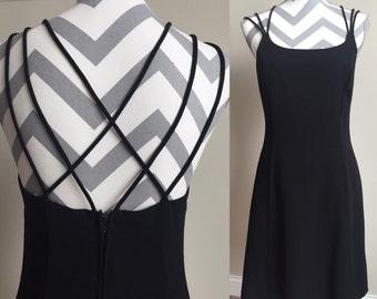 Vintage Strappy Criss-Cross Back Black Short Dress Size 8