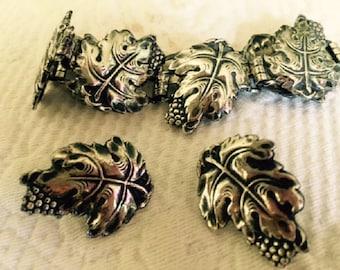 Vintage 1930's Sterling Silver Grape Leaf Bracelet And Earring Set