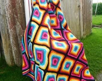 "Granny square blanket ""Rainbow"""