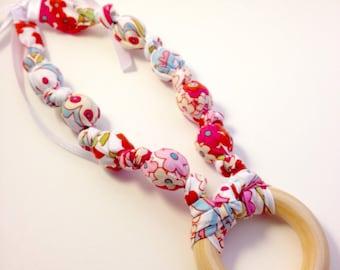 Little Azalea Fabric Nursing Necklace, Teething Necklace, Breastfeeding Necklace, Floral Mommy Necklace, Fabric Teether, Chomping Necklace