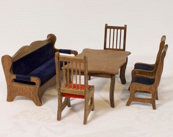 Vintage Wooden Dollhouse Dining Room Set Miniature Furniture Coach Table Four Chairs By Shackman Co