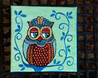 "Whimsical Acrylic Owl Painting Original Art 5""×5"""