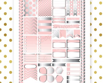 Lite Pink & Silver Pro Printable Planner Stickers for Erin Condren Life Planner