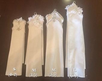 Princess gloves, baptism gloves, girls gloves, flower girl gloves, wedding gloves, fingerless gloves