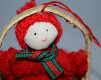 Little yarn girl / basket / holiday ornament / yarn / doll / girl / holiday / Christmas / tree decoration / tree ornament / ornament / red