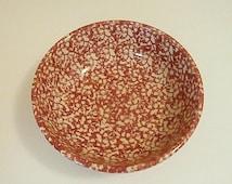 Vintage Henn Pottery; Red White Large Spongeware Serving Bowl-Salad, Pasta Bowl/Collectible, Roseville Ohio Gerald E Henn Retired