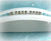 Gluten Free Hugs Bracelet, with Sterling Alphabet Block Beads, Swarovski Crystals and Aqua or Pink Glass Beads