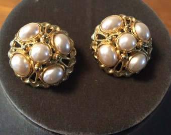 Vintage Dramatic Pearl encrusted clip-on earrings bold gold design