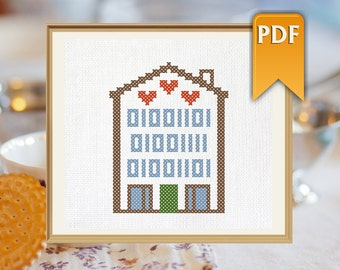 MOM in binary code cross stitch pattern for Mother's Day. Instant download!