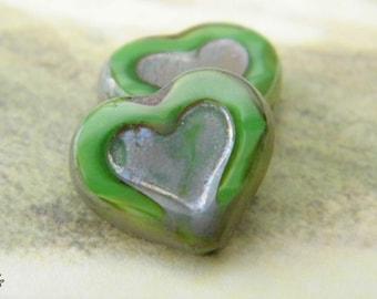 Country Green Heart Beads, Heart Beads, Czech Beads, N1688