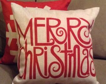 Merry Christmas Pillow, Christmas Pillow, Personalized Pillow Cover, Christmas Decor, Christmas Decorations, Christmas Throw Pillow