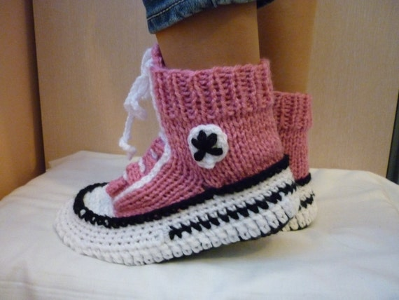 Knitting Pattern For Converse Socks : Crochet Pattern Converse Slippers Knitted Pattern Slippers
