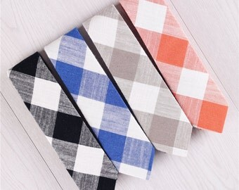 gingham tie.plaid tie.checkered ties.mens necktie.cotton necktie.black ties.blue neckties.brown tie.gifts for men.mens accessories+nt.s430
