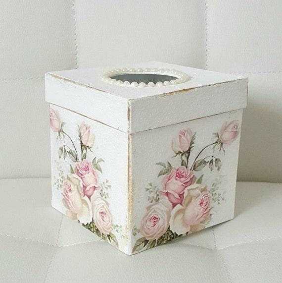 Vintage shabby rose tissue box cover shabby chic bathroom for Tissu shabby chic