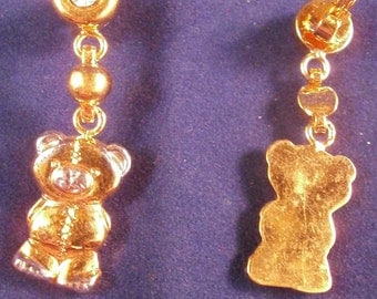 children earrings TeddyBears  with white stones , 35mm