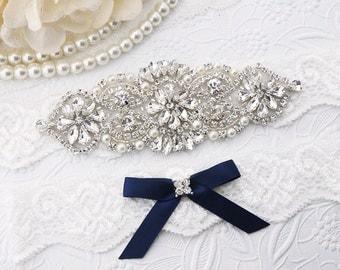 Wedding Garter Set , Bridal Garter Set, Crystal Wedding Garter Set, Bridal Garter Blue /BL370