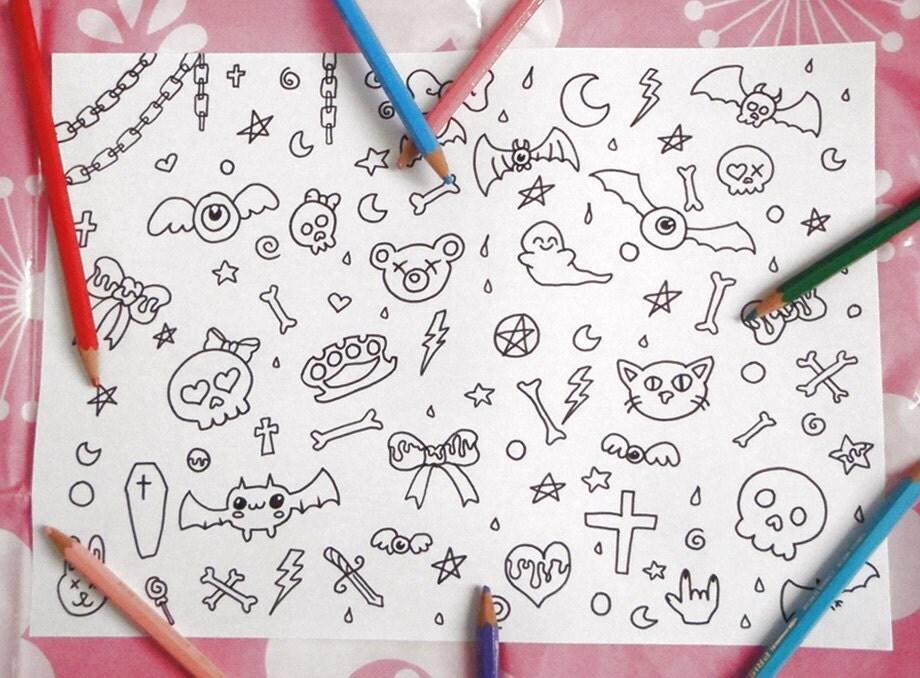 Halloween kawaii disegno colorare pastel goth chibi per for Immagini teschi disegnati