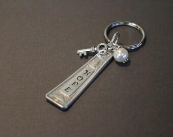HOPE - Vintage Flatware Key Ring. Stocking Stuffer. Upcycled.