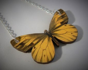 small brights tatty wood laser cut butterfly moth necklace statement spring devine