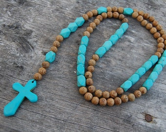 Turquoise Rosary Necklace,Turquoise Cross,Turquoise and Wood Beads,JESUS,CATHOLIC,Crucifix,Pray,Man,Woman,Gift