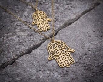 Hamsa necklace, hamsa hand necklace, evil eye necklace, jewis necklace, gift under 50, tiny necklace, dainty necklace, 14K gold.