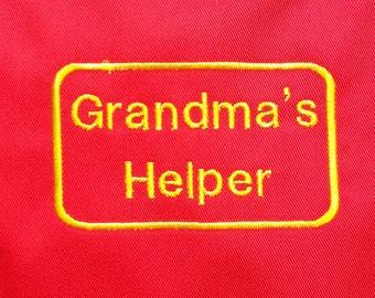 Grandma's Helper Embroidered Childs Apron