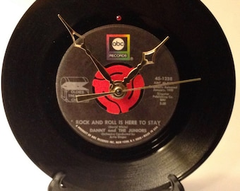 "Recycled DANNY And The Juniors 7"" Record • Song: Rock And Roll Is Here To Stay • Record Clock"