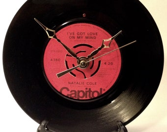 "Recycled NATALIE COLE 7"" Record  • I've Got Love On My Mind • Record Clock"